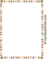 """8.5"""" x 11"""" (U.S. letter sized) border of colorful gingerbread men, candy canes and presents"""