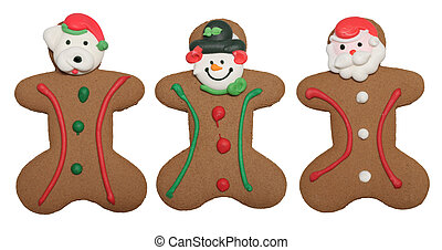 Gingerbread men cookies, isolated on white.