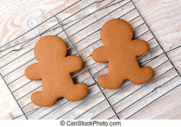 Gingerbread Men On Cooling Rack