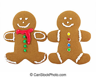 Gingerbread Men - Two gingerbread cookies isolated on a...