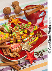 gingerbread on a red plate