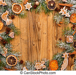 Gingerbread on fir tree branches - Christmas still life with...