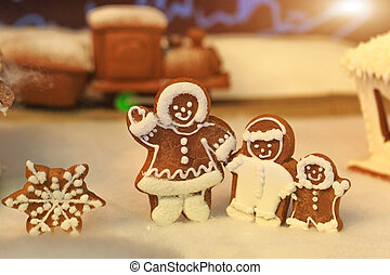 Gingerbread people, winter holiday concept