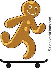 gingerbread, placa patim, criança, tocando
