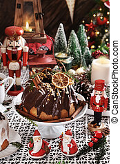 gingerbread ring cake for Christmas on festive table