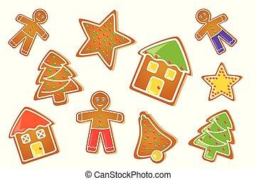 gingerbread set star house man christmas tree bell