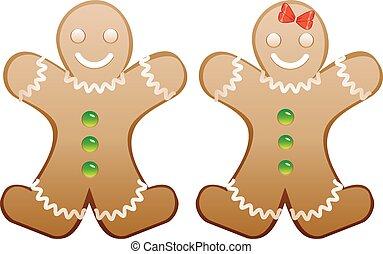 gingerbread, sorrindo, biscoitos