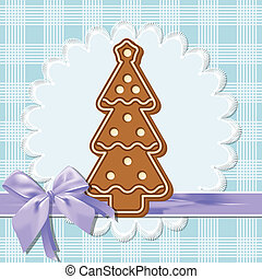 gingerbread tree - Gingerbread figure - Christmas tree. Blue...