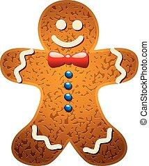 gingerbread, vetorial, biscoito, caricatura