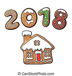gingerbread, vetorial, biscoito, ilustração, casa