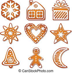 gingerbread, vetorial, biscoitos