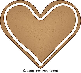gingerbread, vetorial, coração