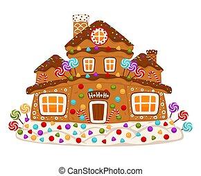 gingerbread, vetorial, decorado, alimento, doce, casa, biscoito, sobremesa