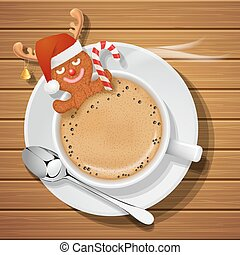 gingerbread with santa claus hat and reindeer horns in cup ...