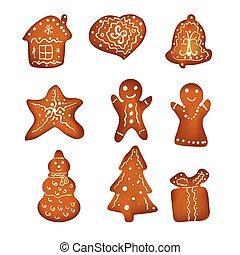gingerbreads, blanco, aislado, plano de fondo, navidad