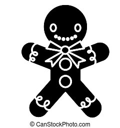 gingerman bakery icon, vector illustration, black sign on isolated background