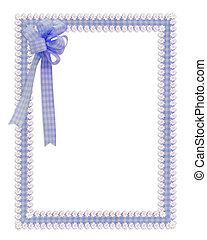 Gingham and daisies ribbons blue border - Image and...