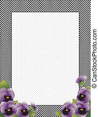 gingham, controleren, frame, viooltje, bloemen