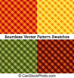 Gingham Cross Weave Seamless Patterns, Fall Harvest Colors: Pumpkin, Gold, Russet, Green
