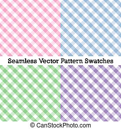Gingham Cross Weave Seamless Patterns, Four Pastel Colors: Pink, Powder Blue, Misty Green. Lavender