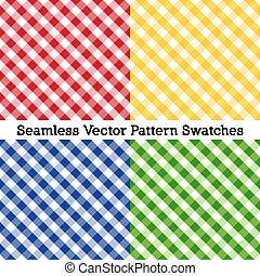 Gingham Cross Weave Seamless Patterns, Red, Yellow, Blue, Green