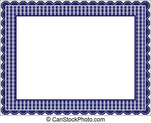 Gingham patterned frame with scalloped border