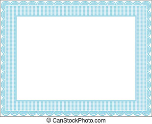 Gingham Frame - Gingham patterned frame with scalloped ...