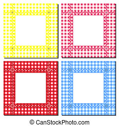A vector illustration of gingham frames on white. Space for text or image insertion.