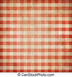 gingham, grunge, bakgrund, rutig, picknicken, bordduk, röd