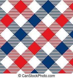 Gingham pattern red and blue. Texture from rhombus/squares for - plaid, tablecloths, clothes, shirts, dresses, paper, bedding, blankets, quilts and other textile products. Vector illustration EPS 10
