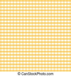 gingham, seamless, amarela, padrão