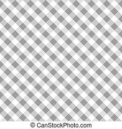 gingham, stavba typ, šedivý, seamless, textilie