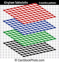 gingham, tafelkleed, 5, seamless, motieven