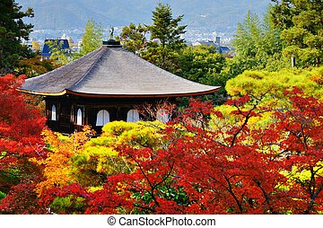 Ginkaku-ji Temple in Kyoto, Japan during the fall season. ...