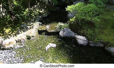 Ginkakuji Temple water stream - Zen water stream in the...
