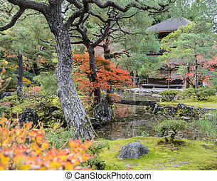 Ginkakuji temple with autumn colors in kyoto, Japan -...