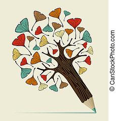 ginkgo, begrepp, blad, träd, blyertspenna
