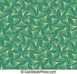 Ginkgo biloba leaves seamless pattern on green background