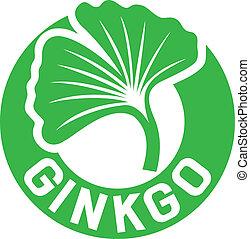 ginkgo biloba symbol (ginkgo biloba leaf, ginkgo biloba sign, ginkgo biloba label)