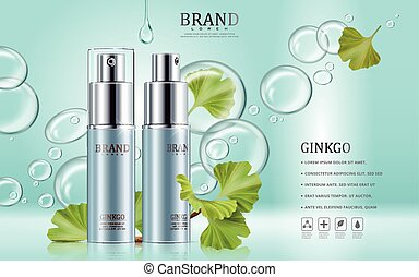 Ginkgo cosmetic ads, blue spray bottles with ginkgo biloba...