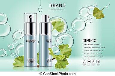 Ginkgo cosmetic ads, blue spray bottles with ginkgo biloba...
