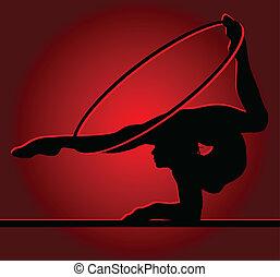 ginnasta, flessibile, cerchio, sfondo rosso