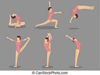 ginnasta, flessibile, ginnastica