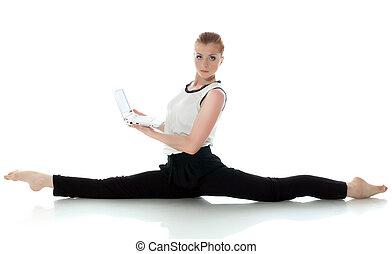ginnasta, serio, laptop, proposta, giovane