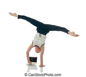 ginnasta, uomo affari, concetto, -, multitasking.