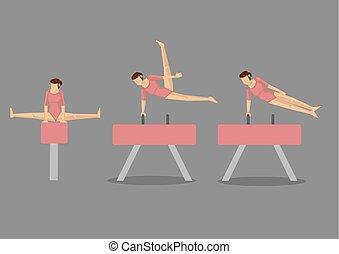 ginnasta, volta, cavallo, donna, pommel