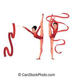 ginnasti ritmici, in, leotards, verticale, gamba, divisione, esercitarsi, con, nastro