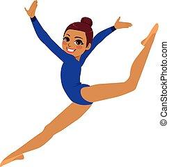 ginnastica, acrobata, donna