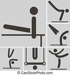 ginnastica, artistico, icona