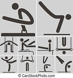 ginnastica, artistico, icone